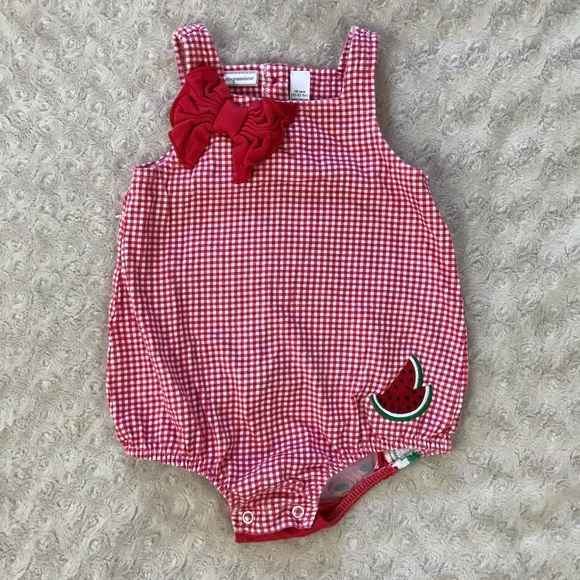 First Impressions Other - First Impressions Watermelon Romper Gingham Red